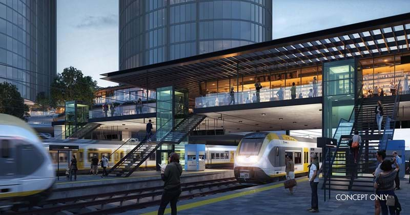 Passengers awaiting train shown in concept design of Albion Exchange transit oriented development