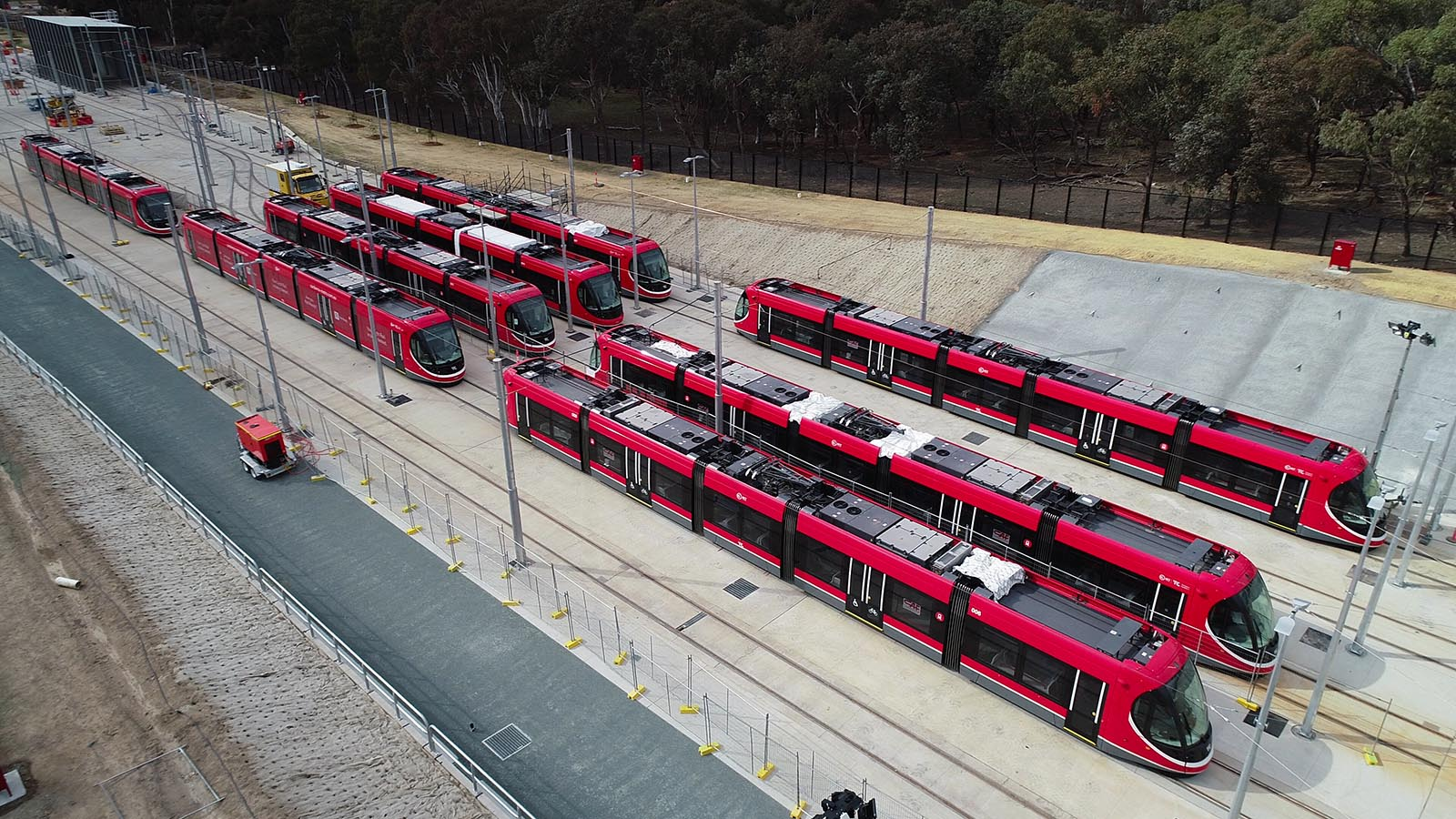 Birdeye view of Canberra Light Rail trains parked up at transport hub