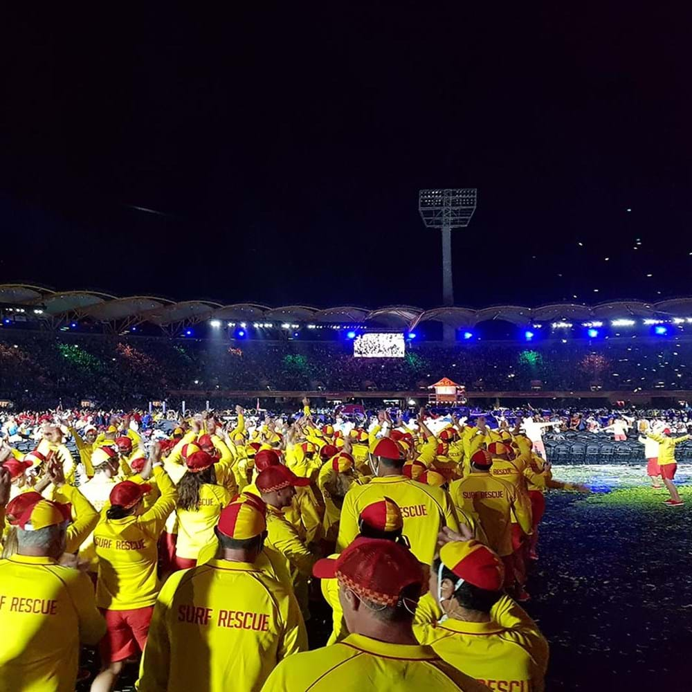 Surf rescue evening performance in stadium for opening of 2018 Commonwealth games