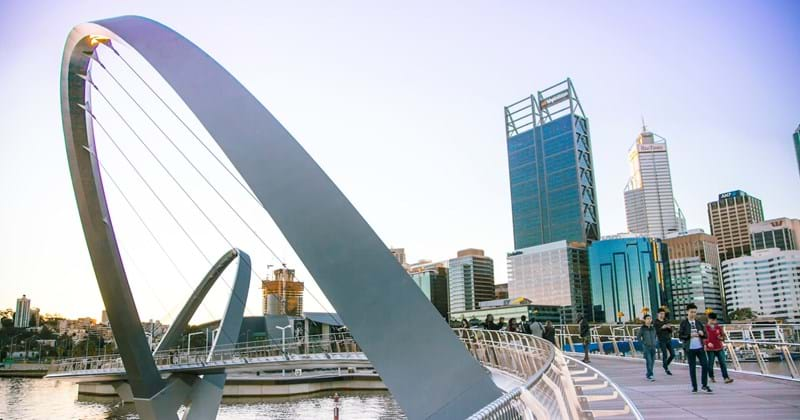 Elizabeth Quay Pedestrian Bridge with city background in Perth Australia