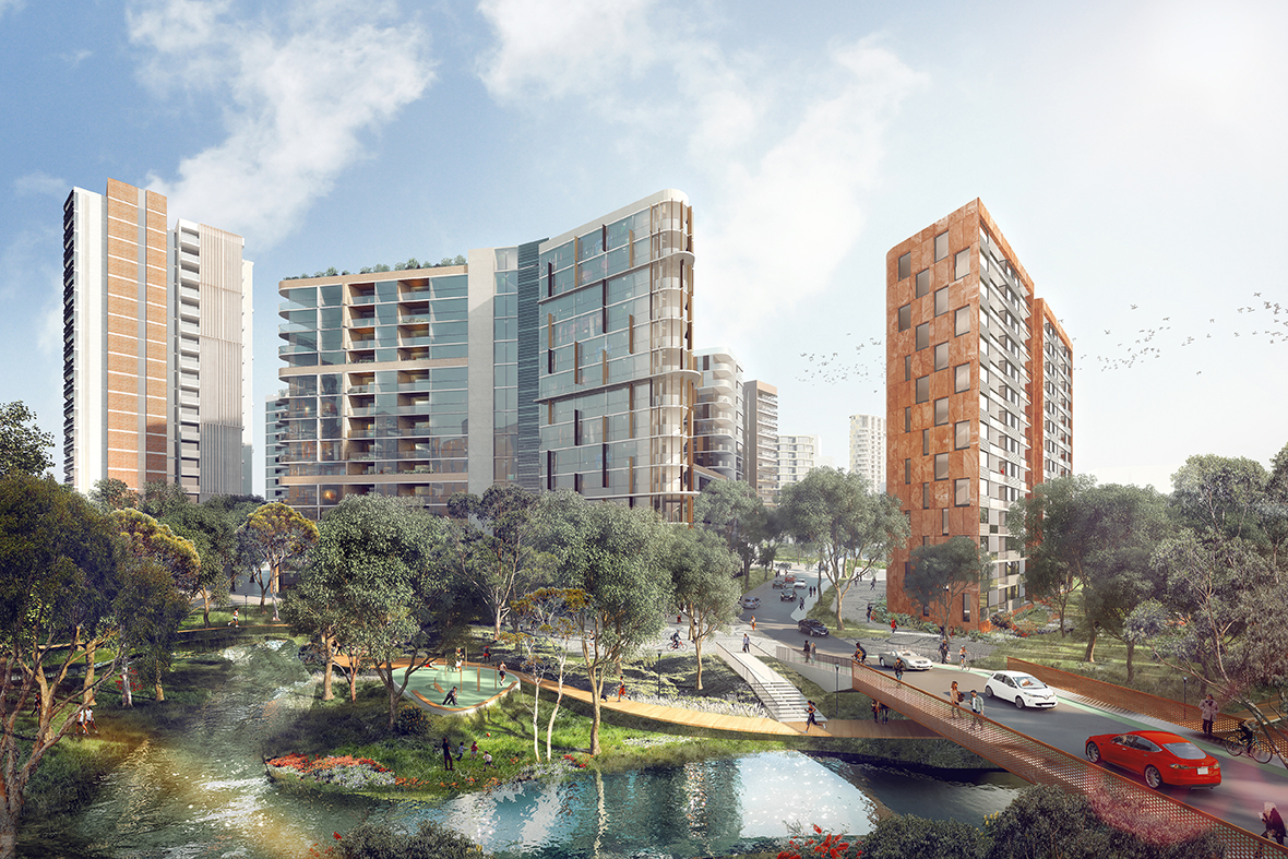 Ivanhoe Estate artist proposal with buildings, pedestrians, vehicles and river