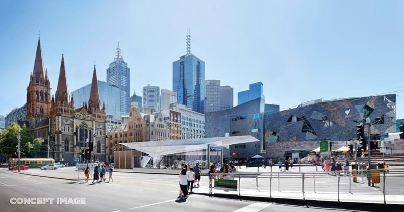 Concept design for Melbourne's Metro project with the Melbourne Town Hall and Federation square in the background
