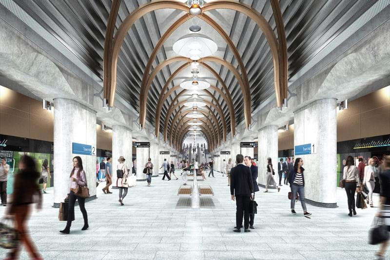 Concept design for The Metro Tunnel Project, inside tunnel with pedestrians heading to platforms