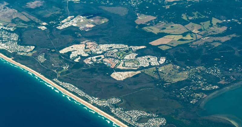 Aerial shot of Sunshine Coast, Queensland Australia