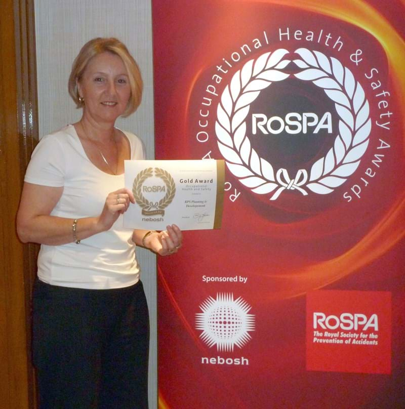 Gill McKenzie receiving RoSPA Occ H and S Award no date.jpg