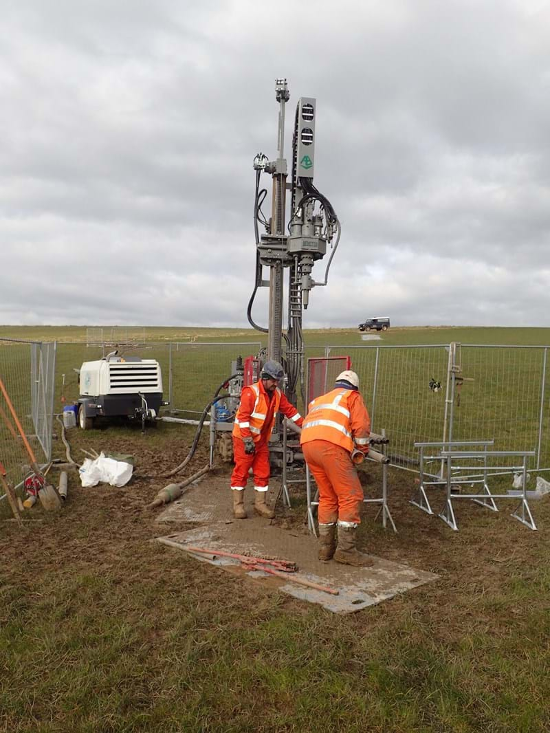Engineers performing site investigation
