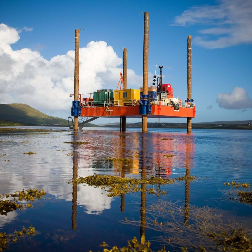 Rig platform at the Corrib gas site, Mayo, Ireland.