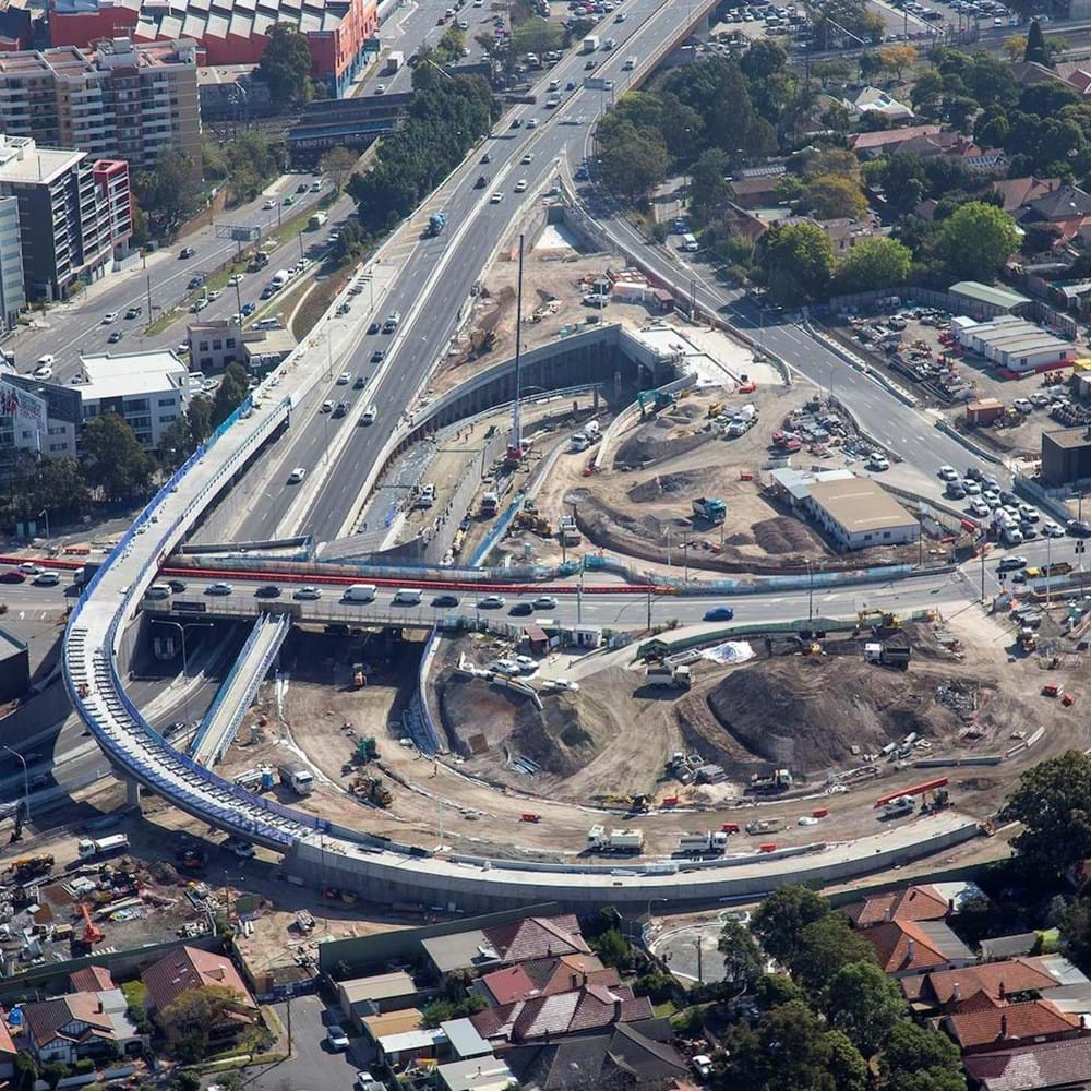 Aerial shot of WestConnex motorway scheme in Sydney NSW