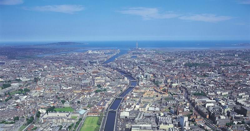 Aerial picture of Dublin and the river Liffey