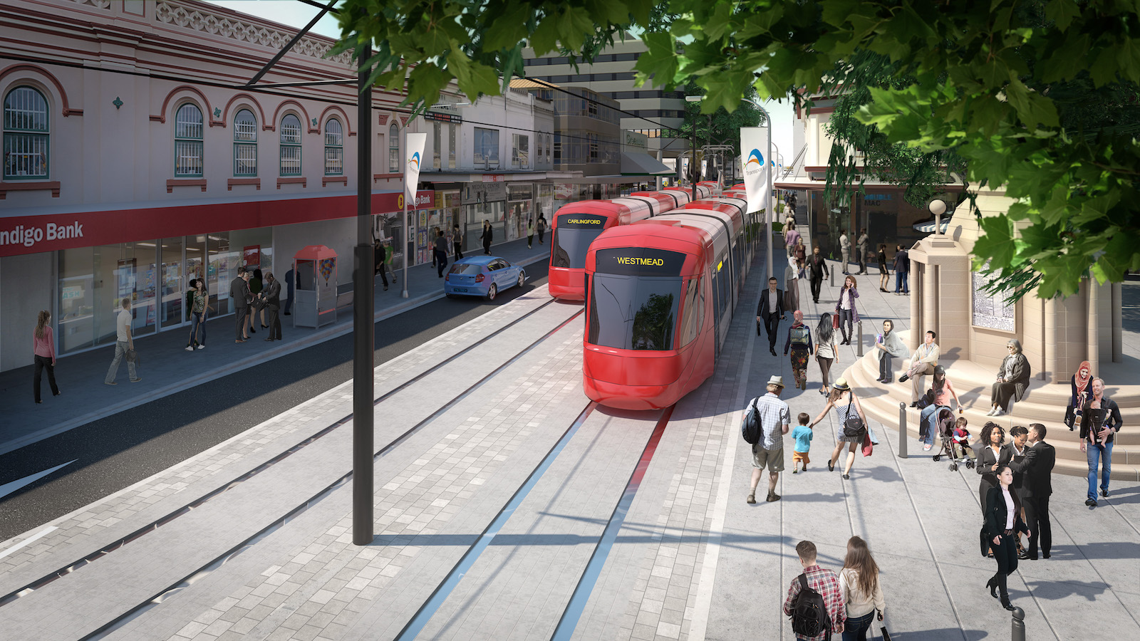 Artist drawing of Parramatta Light Rail on Macquarie Street with pedestrians and trams