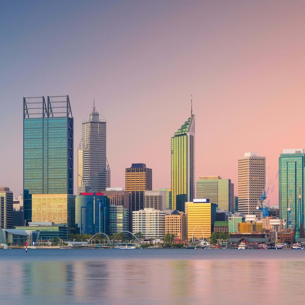 Evening skyline and waterfront in Perth, Western Australia