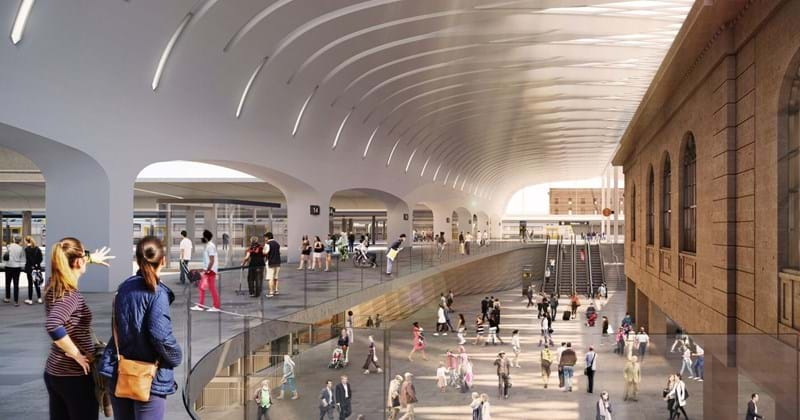 Artist drawing of inside new Sydney Metro main terminal