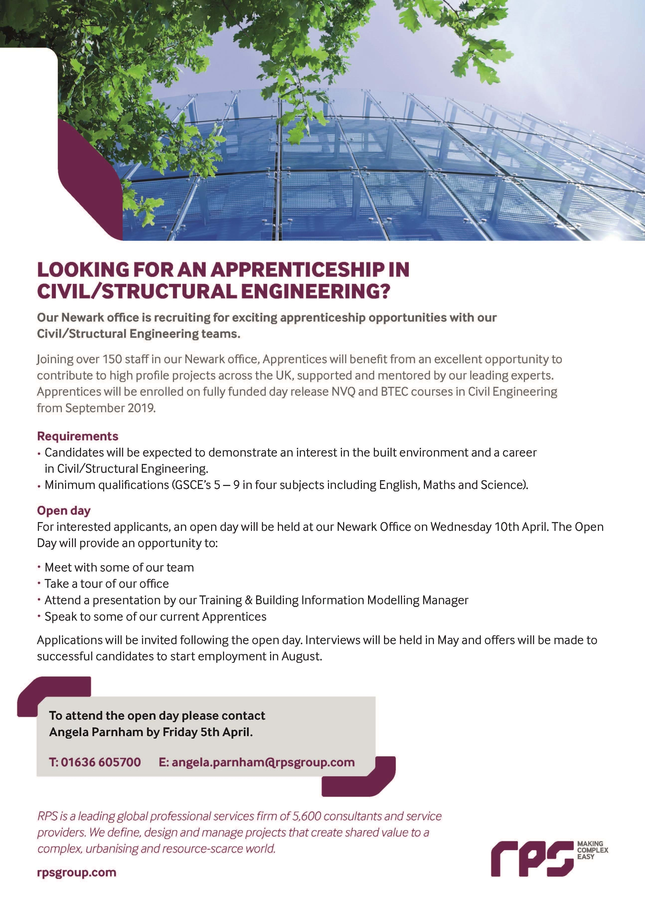 Come to our engineering apprenticeships open day | RPS