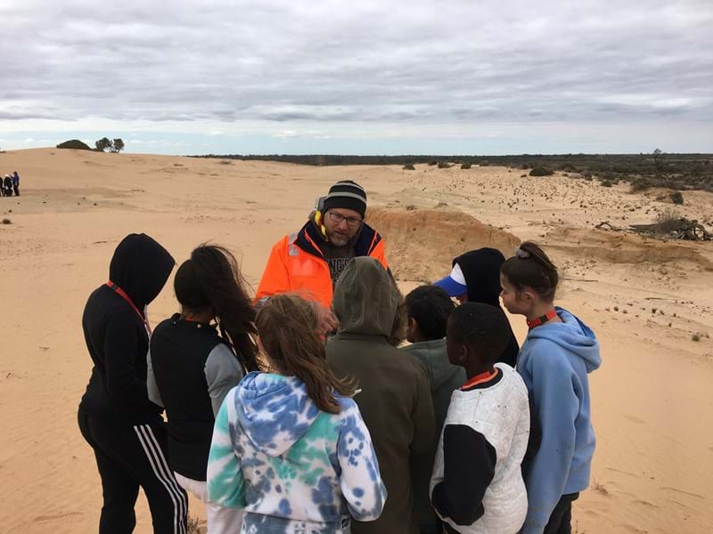 RPS heritage manager teaching students about GPR at Willandra Lakes