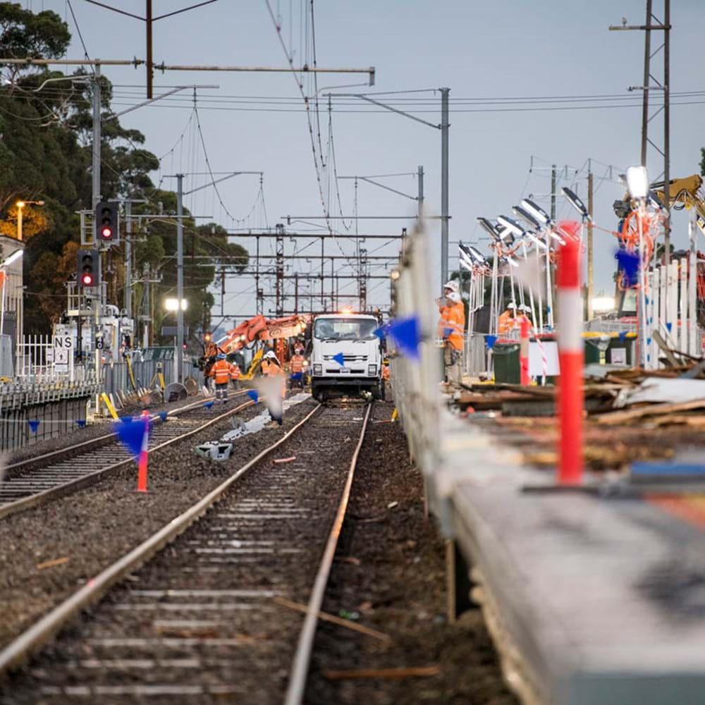 Works taking place on Victoria's Level Crossing Removal Project.