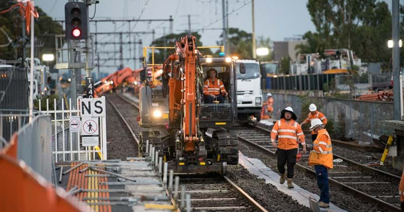 Workers at work on Victoria's Level Crossing Removal Project