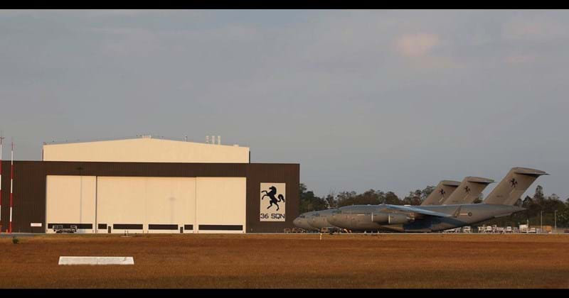 RAAF Amberley C-17A Maintenance Hangar with fleet parked outside, Amberley QLD