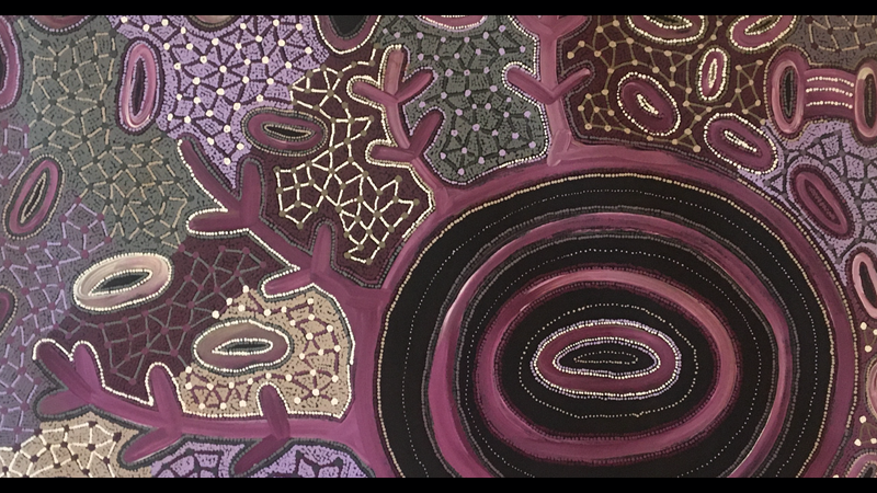 Pikilyi Jukurrpa (Vaughan Springs Dreaming), acrylic on canvas by Theo (Faye) Nangala Hudson