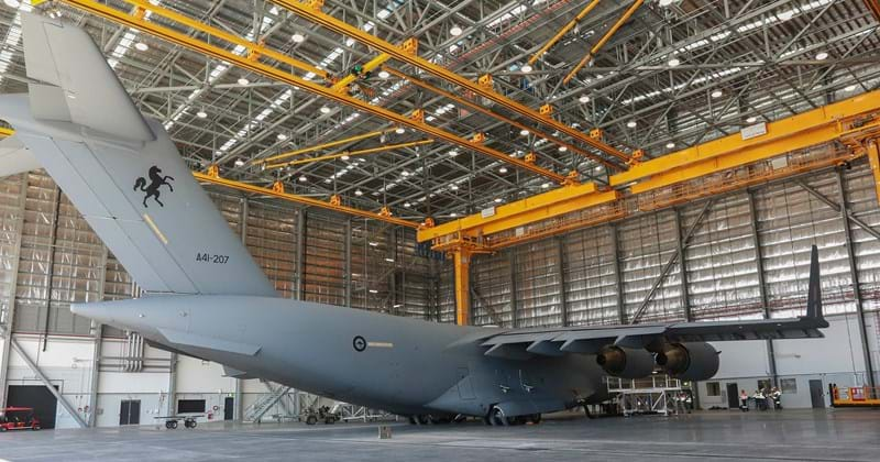C-17A undergoing maintenance at RAAF Amberley