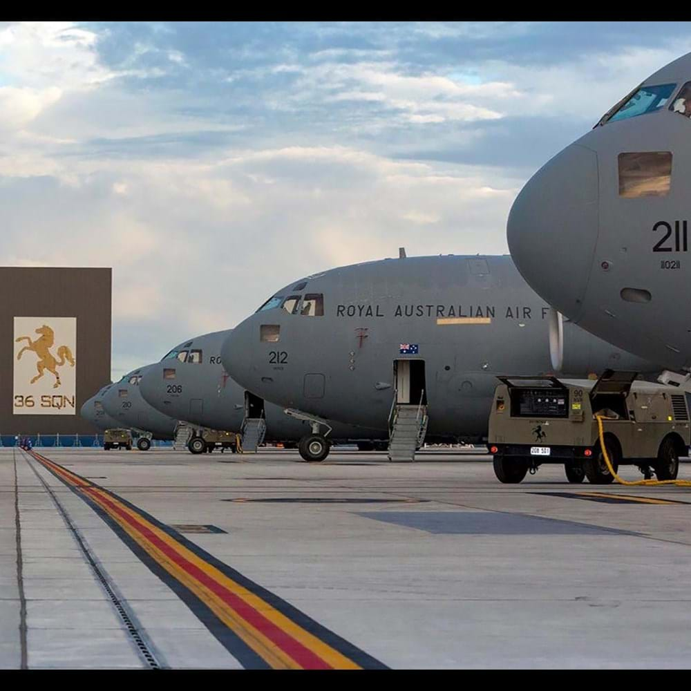 C-17A aircraft on flightline at RAAF Amberley