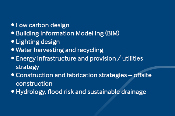 Design and engineering •	Low carbon design •	Building Information Modelling (BIM) •	Lighting design •	Water harvesting and recycling  •	Energy infrastructure and provision / utilities strategy •	Construction and fabrication strategies – offsite construction •	Hydrology, flood risk and sustainable drainage