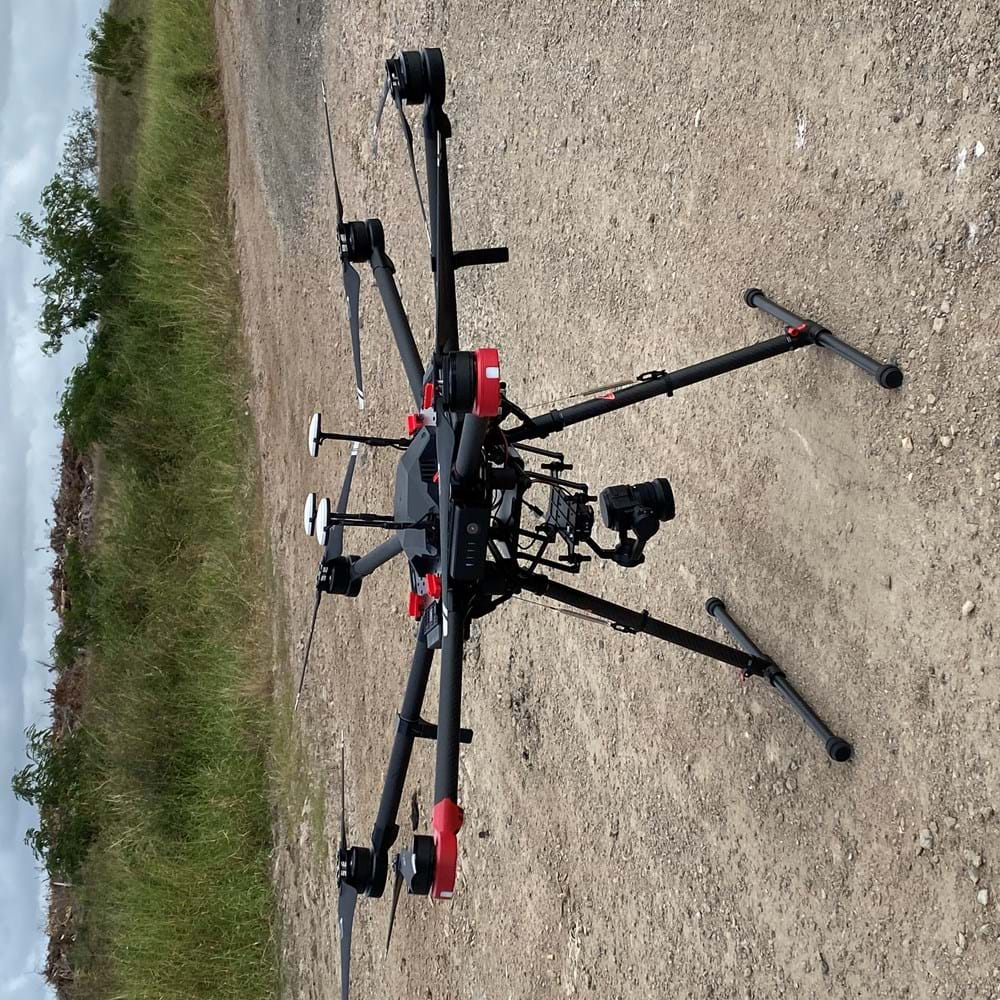 RPS remote piloted aircraft /drone landing on gravel