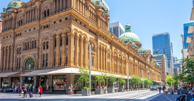 George Street and Queen Victoria Building on a sunny day, Sydney, NSW Australia