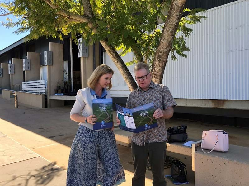 Megan Davis and Prof. Steve Turton looking at the latest Wet Tropics Waterways Report Card