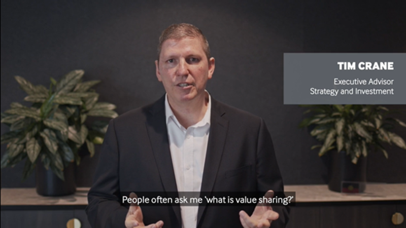 Infrastructure co-investment through value sharing video