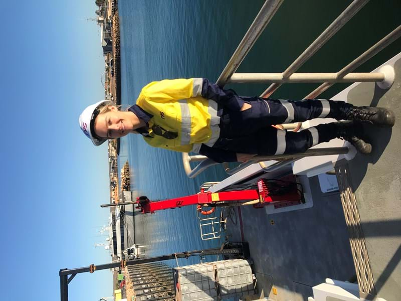 RPS Regional HSSEQ Advisor, Sara Owen before on survey vessel before heading offshore