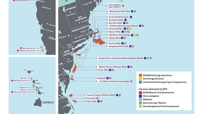Offshore wind lease areas in North America - RPS project experience