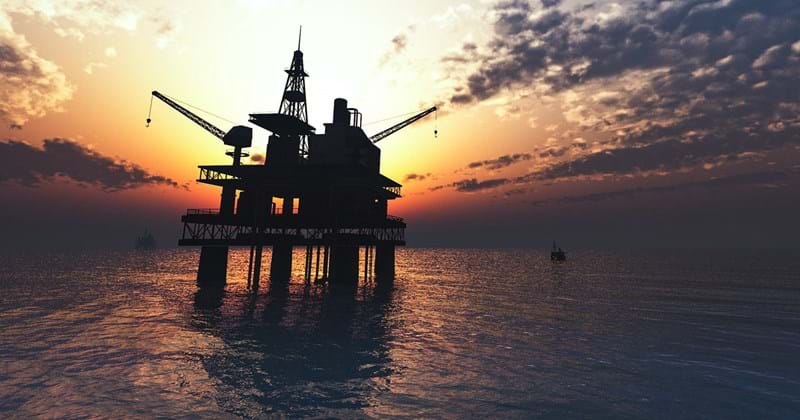 Oil rig at sunset in the North Sea